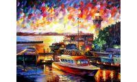 Живопись на холсте Золотой закат на море, 40x50, Paintboy, GX25552