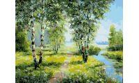 Живопись на холсте Березы у реки, 40x50, Paintboy, GX26803