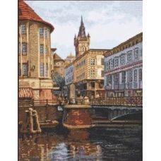 Набор для вышивания крестом Лавочный мост, 27x35, Палитра