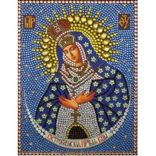 Алмазная вышивка термостразами Богородица Остробрамская, 28x22, Преобрана