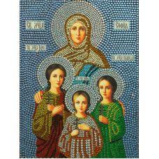 Вышивка термостразами Святые Вера, Надежда, Любовь и мать их София, Преобрана
