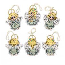 Набор для вышивания крестом и бисером Украшения Ангелочки, 7x7 7x6,5(2), Риолис, Сотвори сама