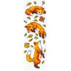 Набор для вышивания крестом Лисы в листве, 8x24, Риолис, Сотвори сама