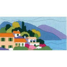 Набор для вышивания Городок у моря (длинный вертикальный стежок), 24x12, Риолис, Сотвори сама