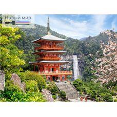 Алмазная мозаика Пагода у водопада, 40x50, полная выкладка, Новый мир
