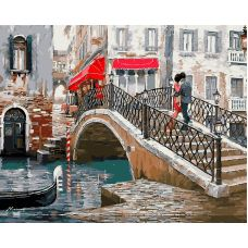 Живопись по номерам Влюбленные. Мост в Венеции Ричарда Макнейла, 40x50, Paintboy, GX8363