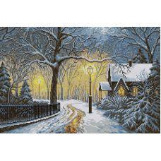 Алмазная мозаика Зимний вечер, 40x60, полная выкладка, Вышиваем бисером