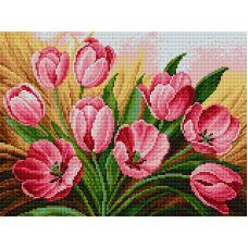 Алмазная мозаика Тюльпаны, 30x40, полная выкладка, Вышиваем бисером