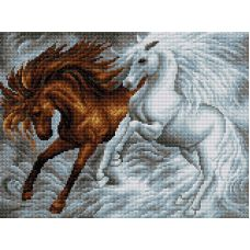 Алмазная мозаика Лошади, 30x40, полная выкладка, Вышиваем бисером