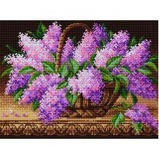 Алмазная мозаика Сирень в корзине, 30x40, полная выкладка, Вышиваем бисером