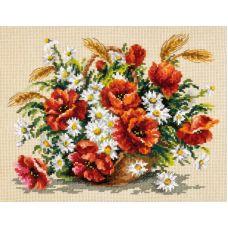 Набор для вышивания крестом Букет полевых, 27x21, Чудесная игла
