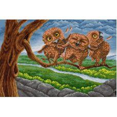 Алмазная мозаика Три совенка, 40x60, полная выкладка, Вышиваем бисером