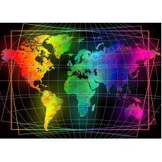 Мозаика стразами Карта мира, 70x50, полная выкладка, Алмазная живопись