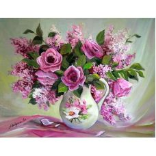 Живопись по номерам Розовый букет, 40x50, Paintboy, GX22401