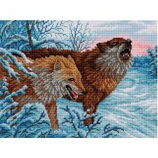 Алмазная мозаика Волки, 30x40, полная выкладка, Вышиваем бисером