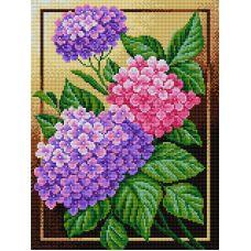 Алмазная мозаика Гортензия, 30x40, полная выкладка, Вышиваем бисером
