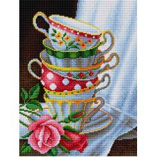 Алмазная мозаика Чашки с розами, 30x40, полная выкладка, Вышиваем бисером