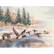 Набор для вышивания крестом Утки летят, 23x17, Алиса