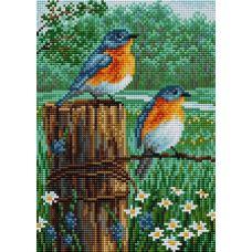 Алмазная мозаика на магнитной основе Птицы летом, 20x28,5, полная выкладка, Вышиваем бисером