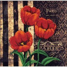 Набор для вышивания бисером Французские Тюльпаны, 29x29, Магия канвы