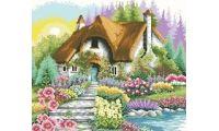 Алмазная мозаика Дом у озера, 53x53, полная выкладка, Jing Cai Ge