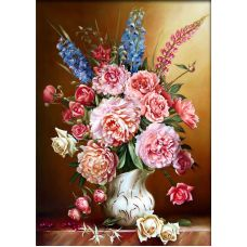 Мозаика стразами Пионы с люпинами, 50x70, полная выкладка, Алмазная живопись