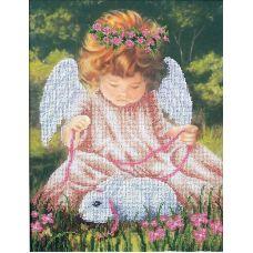 Набор для вышивания бисером Ангел с кроликом, 24,5x32,5, Магия канвы