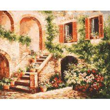 Живопись по номерам Цветущий дворик, 40x50, Белоснежка