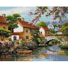 Алмазная мозаика Деревенька у канала, 40x50, полная выкладка, Белоснежка