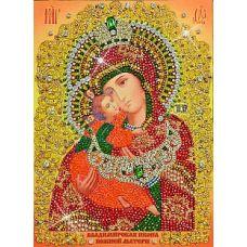 Набор для вышивания хрустальными камнями Богородица Владимирская, 27x37,5, Хрустальные Грани