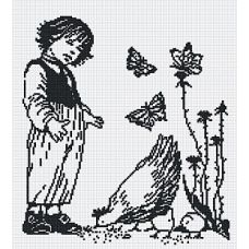 Набор для вышивания крестом Мальчик с курицей (графика), 29x33, МП-Студия