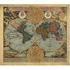 Рисунок на шелке Карта 18 века, 37x49 (28x37), Матренин посад