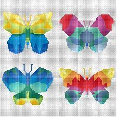Набор для вышивания крестом Бабочки, 21,1x17,5, Тутти