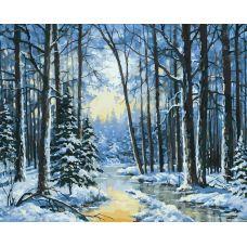 Картина по номерам Зимняя речка, 40x50, Белоснежка