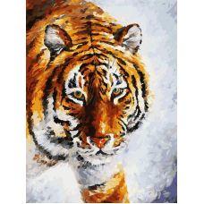 Живопись по номерам Тигр на снегу, 30x40, Белоснежка