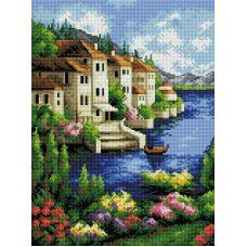 Алмазная мозаика Городок на берегу, 30x40, полная выкладка, Белоснежка