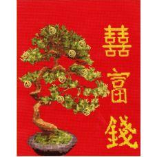 Набор для вышивания крестом Денежное дерево, 26,7x24,5, Золотое руно