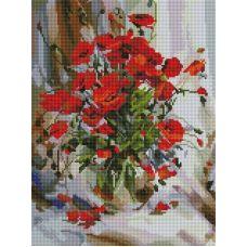 Алмазная мозаика Букет маков, 30x40, полная выкладка, Белоснежка