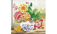 Алмазная мозаика Букет в вазе, 57x57, полная выкладка, Jing Cai Ge