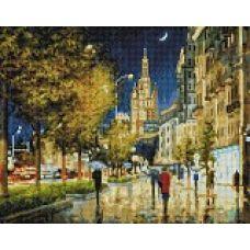 Алмазная мозаика Вечерний свет Садового кольца, 40x50, полная выкладка, Белоснежка