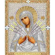 Ткань для вышивания бисером Богородица Семистрельная, 20x25, Конек
