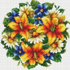Алмазная мозаика Букет с тигровыми лилиями, 30x30, полная выкладка, Белоснежка