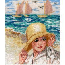 Набор для вышивания бисером Дама у моря, 23x29, МП-Студия