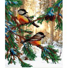Набор для вышивания бисером Птички в лесу, 28x35, МП-Студия