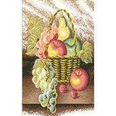 Алмазная мозаика Корзина с фруктами, 47x57, полная выкладка, Jing Cai Ge