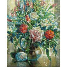 Алмазная мозаика Натюрморт с белой розой, 40x50, полная выкладка, Белоснежка