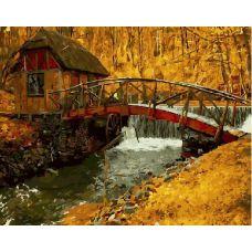 Живопись на холсте Мостик и водяная мельница, 40x50, Paintboy, GX21032