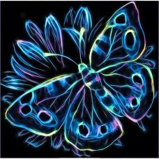 Мозаика стразами Неоновая бабочка, 25x25, полная выкладка, Алмазная живопись