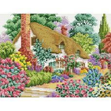 Алмазная мозаика Дом в саду, 30x40, полная выкладка, Белоснежка