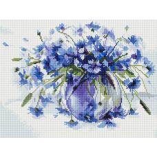 Алмазная мозаика Василечки-васильки, 30x40, полная выкладка, Белоснежка